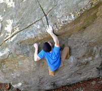 Rock Climbing Photo: Jim pulling into through the end of Amateur