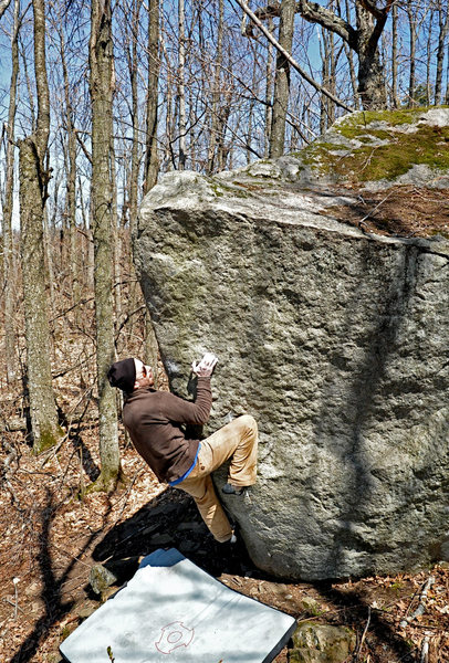 Rock Climbing Photo: The Onion is arete of the boulder below Jaws, very...