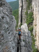 Rock Climbing Photo: Belay station at end of p3. From here it's an easy...