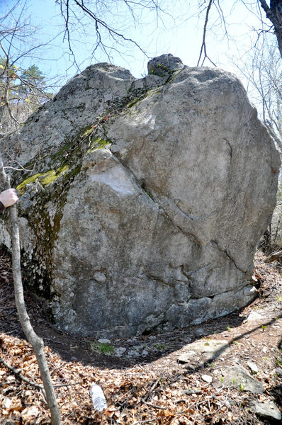 Is this another view of this boulder?  It's to the left of Poppy Cock & Vag....Jim Merli climbed the left arete & thought it might be an FA...but in this place, who knows anyways...