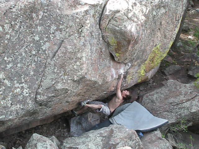 Rock Climbing Photo: The move.