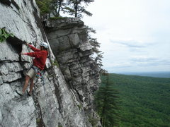 Rock Climbing Photo: Tanya passes scary detached block on pitch 2 of An...