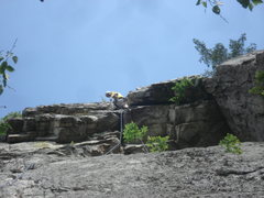 Rock Climbing Photo: Me leading past the second roof of West Pole.