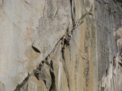 Rock Climbing Photo: Randy Baum Leading the P5 Ramp