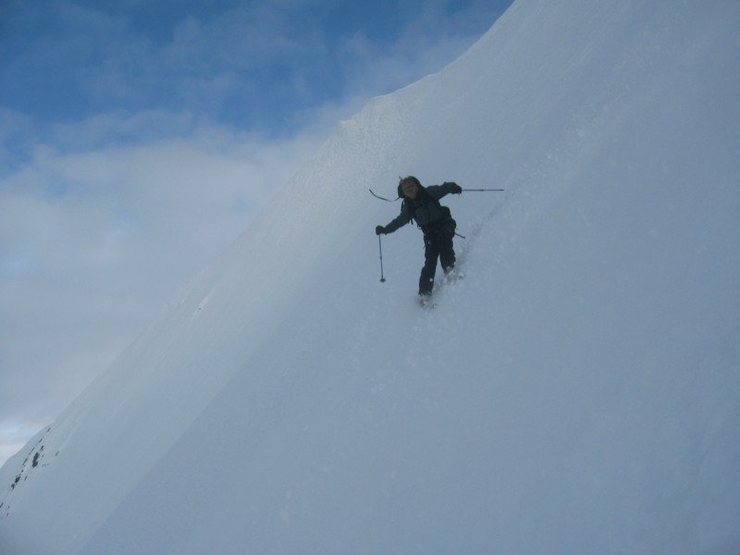 Steep, steep, icy skiing.