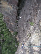 Rock Climbing Photo: View down from Pitch 5. You can see another party ...