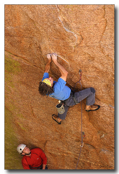 Mark starting on Knights of the Wrong Tissue (5.12-).  I hope Nick is using a GriGri!