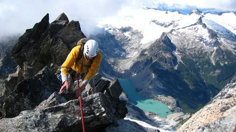 Nearing the summit of Forbidden Peak.