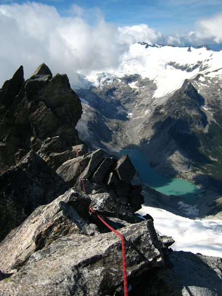 Rock Climbing Photo: Looking down towards Moraine lake from the top.