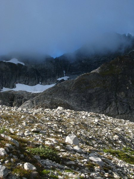 Rock Climbing Photo: Forbidden Peak in the clouds from Boston Basin.  T...