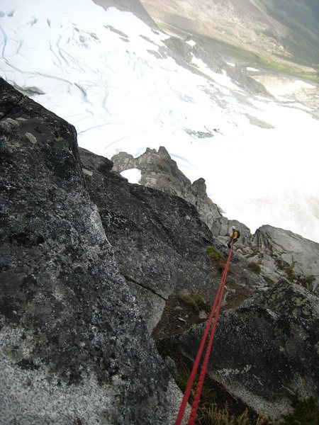 Rock Climbing Photo: Rapping back down to the snowfield.