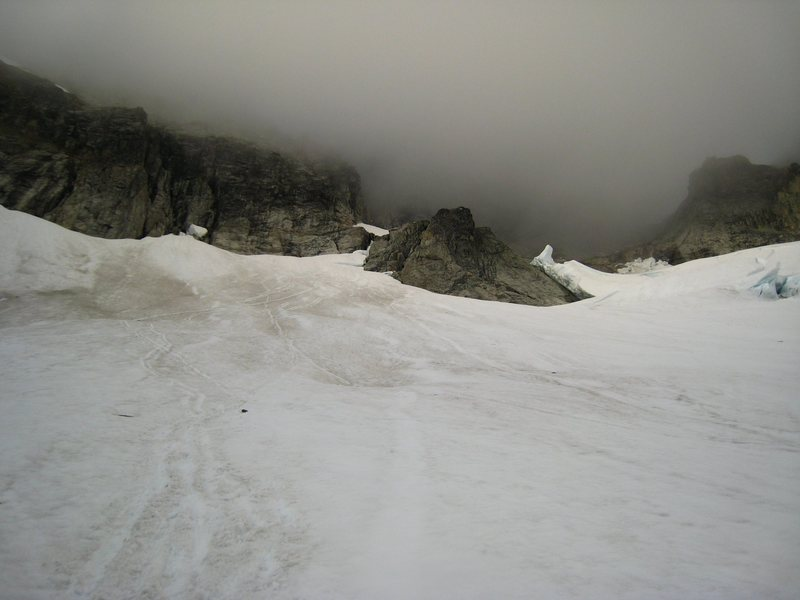 Looks inviting, doesn't it?  Forbidden goes into the clouds.  This is the snowfield that is ascended to gain the start of the couloir.