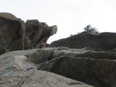 Rock Climbing Photo: And around the big roof at the top...