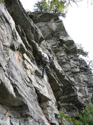 Rock Climbing Photo: Ben leading the roof at the start of Arrow's pitch...