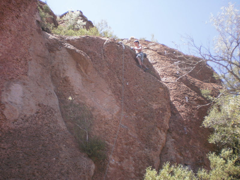 At the top of LYMOD (5.10b).  Route to the right with the draws is Pony Express (5.5)
