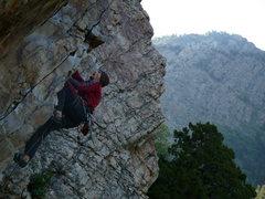Rock Climbing Photo: Mike nearing the lip on Black Monday