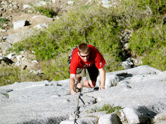 Rock Climbing Photo: Watson coming up School Room to the hook...