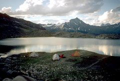 Rock Climbing Photo: Camp by lake, that turns in to 200ft waterfall,