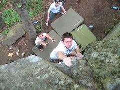 Rock Climbing Photo: Slap! Jay sticking the finish