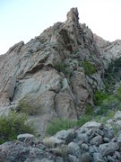 Rock Climbing Photo: One start is to the right of this arete, up the bu...