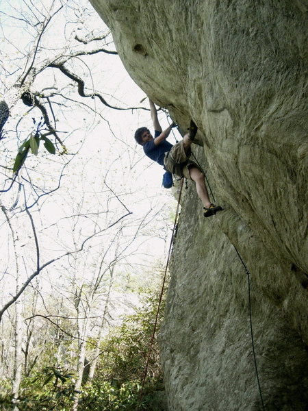 Rock Climbing Photo: Working the technical crux.