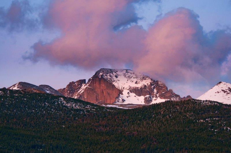 Rock Climbing Photo: The Diamond from Glacier Basin campground. Photo: ...