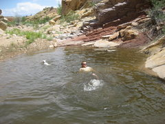 Rock Climbing Photo: After the climb a pool in Three Fingers Canyon