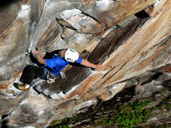 Rock Climbing Photo: Charlie departing from the corner on a radiant spr...