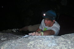 Rock Climbing Photo: Night pebble wrestling in the Red Dot boulders
