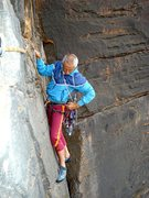 Rock Climbing Photo: Norm on pitch 2 of Scarab, Bundaleer