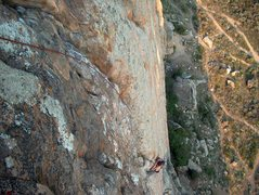 Rock Climbing Photo: Great route, past the slightly sketchy crux.