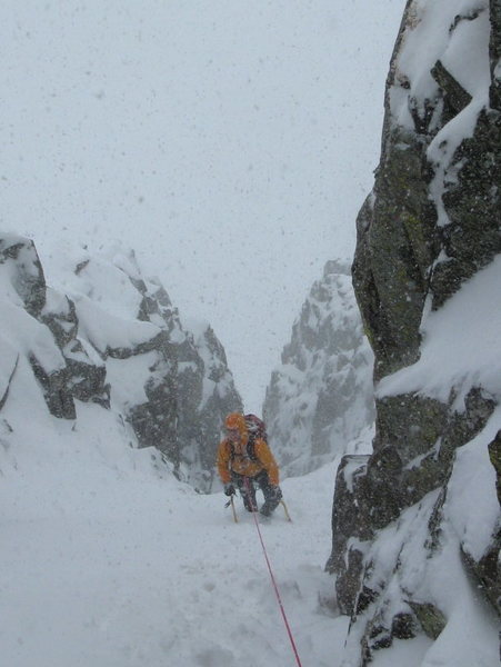 Climbing up into farthest left couloir.  5/2/2009.