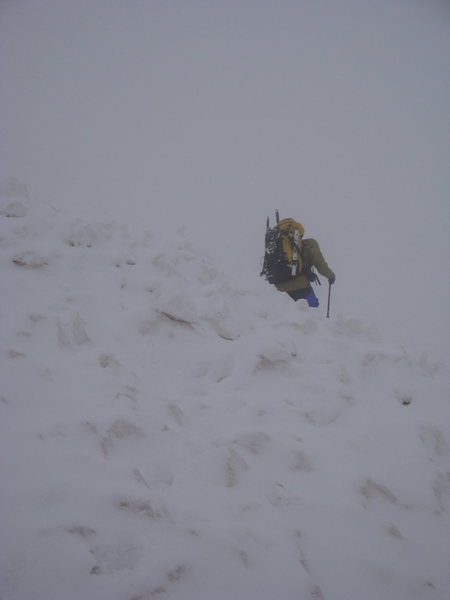 Tom Willis crossing avalanche field.
