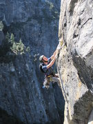 Rock Climbing Photo: Unknown climber on the 10d finger crack of South b...