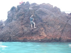Rock Climbing Photo: Slightly overhanging with big holds, paradise!