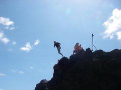 Rock Climbing Photo: The quick way down...