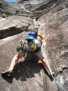 "Rock Climbing Photo: R. Karge cranking through the ""5.9"" crux..."
