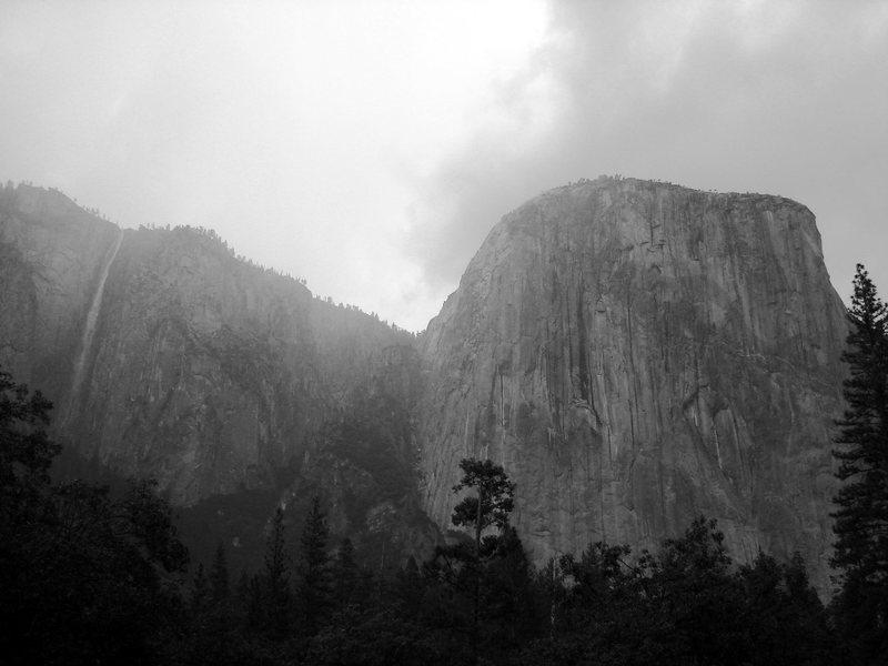 Ribbon Falls & El Cap during a storm