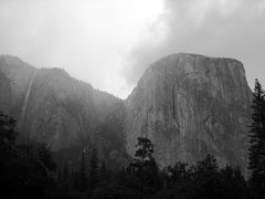 Rock Climbing Photo: Ribbon Falls & El Cap during a storm