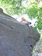 Rock Climbing Photo: Rhoads leading Seven Seas, right hand version.