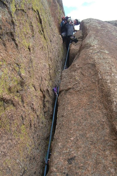 Rock Climbing Photo: The wide start of pitch 3.
