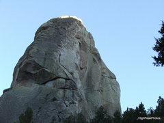 Rock Climbing Photo: Sky Line route, generally follows the crack, then ...