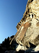 Rock Climbing Photo: Route follows light area in the (Center), then ove...