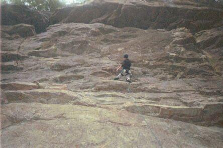 Rock Climbing Photo: Working the seam.