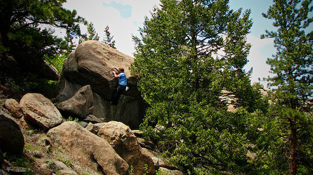 Luke Childers Climbing Mr. Big.  The Pass.  Three Sisters Park, Colorado.