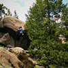 Luke Childers Climbing Mr. Big.  The Pass (Eastern Slope).  Three Sisters Park, Colorado.