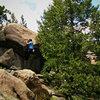 Luke Childers Climbing Mr. Big.  The Pass (Eastern Slope).  Three Sisters Park, Colorado.