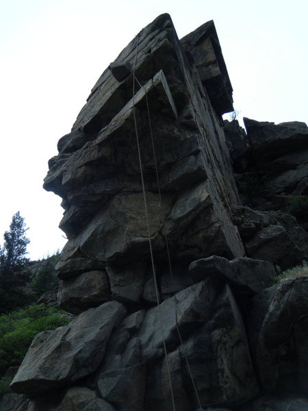 Rock Climbing Photo: Looking up at the drop test block in position at t...
