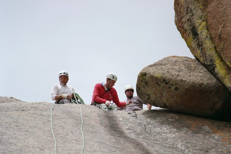 Rock Climbing Photo: Bret, Lew and I, at the rap anchors on top of Satt...