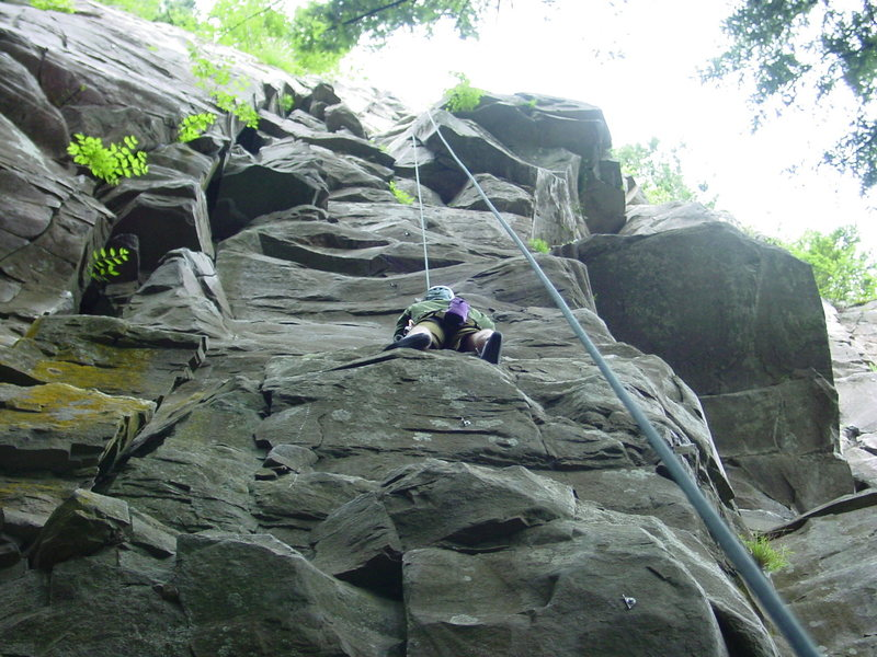 Rock Climbing Photo: Looking up at Snake Face from the Belay Platform.